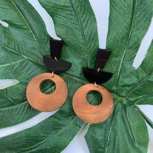 Wood Mixed Media Geometric Modern Earrings NWT